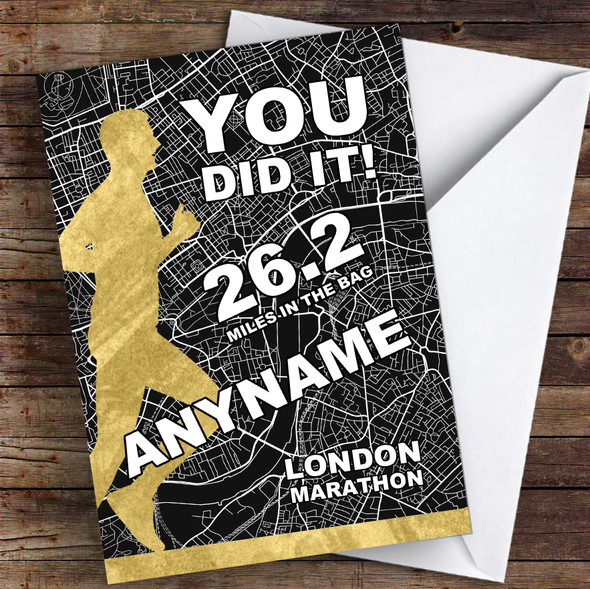 London Marathon Black & Gold Style Male Congratulations Personalised Card