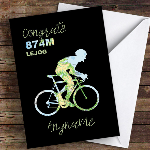 Lejog Bike Ride Map Silhouette Style Congrats Personalised Greetings Card