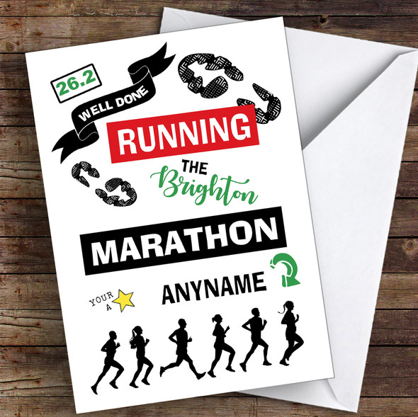 Running Fill-In-Name Marathon Congratulations Personalised Greetings Card