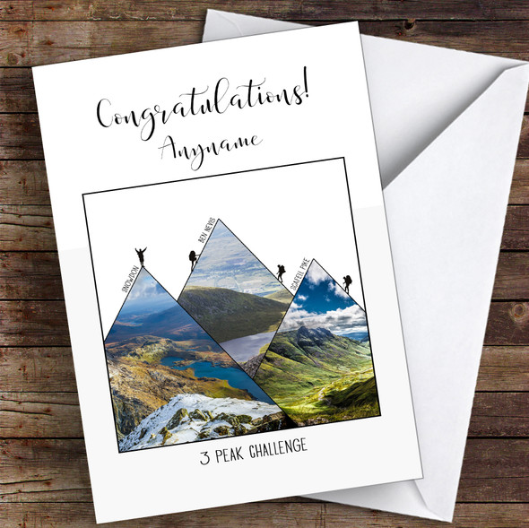 3 Peaks Photographic Style Congratulations Personalised Greetings Card