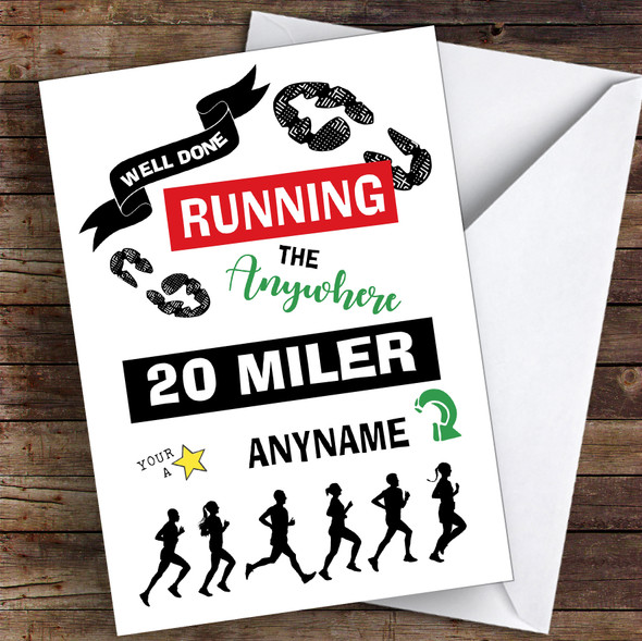 Running Anywhere 100 Miler Congratulations Personalised Greetings Card