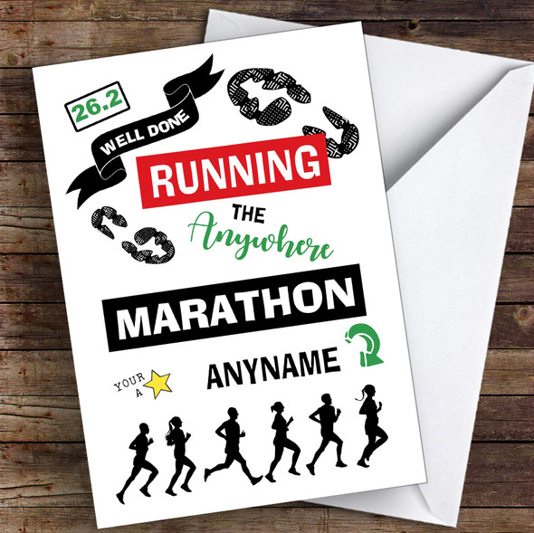 Running Anywhere Marathon Congratulations Personalised Greetings Card