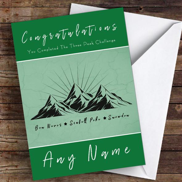 Completed The Three Peak Challenge Green Personalised Greetings Card