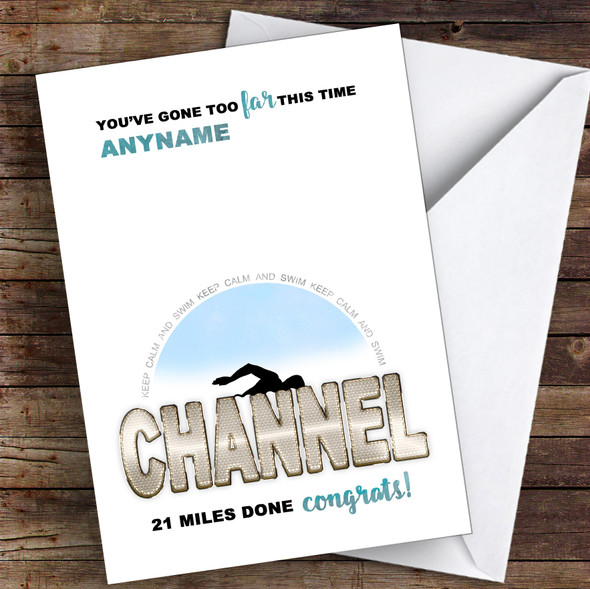 Funny Swim The Channel Too Far Congrats Personalised Greetings Card