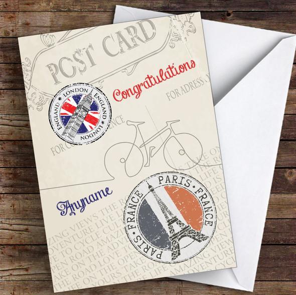 London Paris Bike Ride Congratulations Personalised Greetings Card