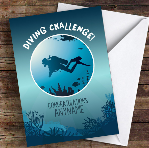 Scuba Diving Challenge Congratulations Personalised Greetings Card