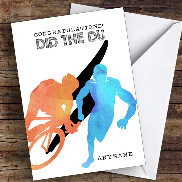 Duathlon Did The Du Congratulations Personalised Greetings Card
