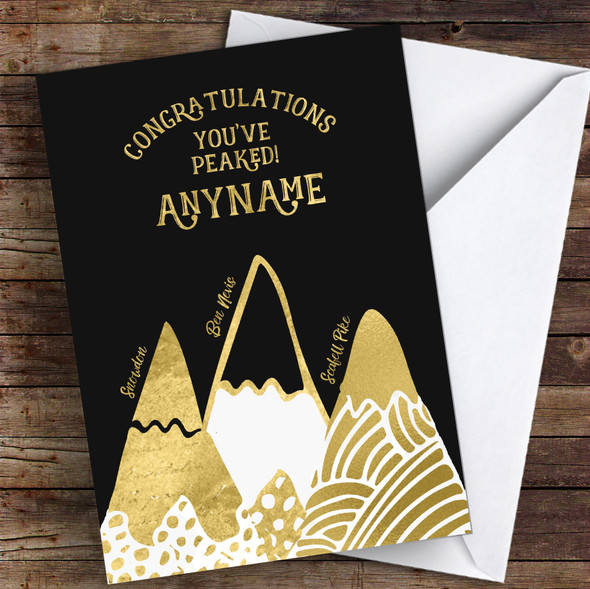 3 Peaks Gold Style Congratulations Personalised Greetings Card