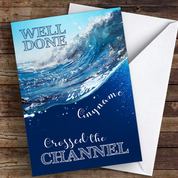 Cross The Channel Waves Well Done Personalised Greetings Card