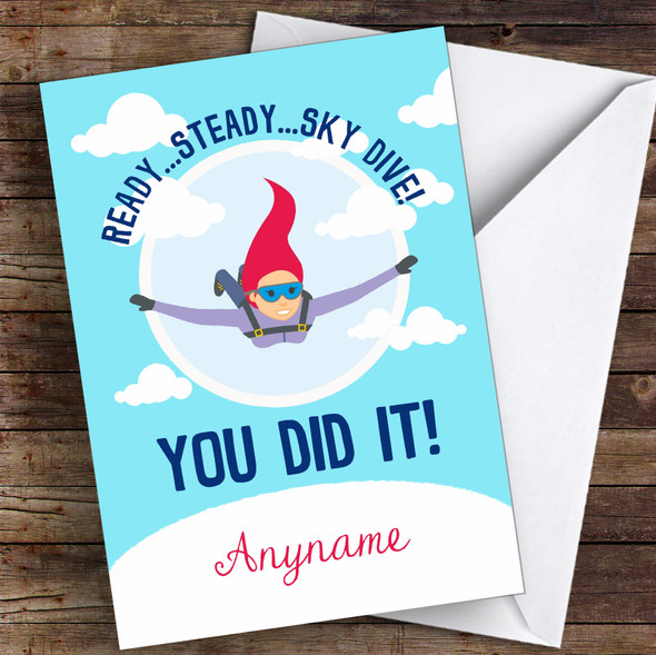 Sky Diving Challenge You Did It Personalised Greetings Card