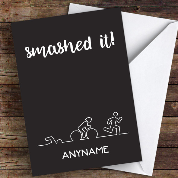 Triathlon Line Style Smashed It Personalised Greetings Card