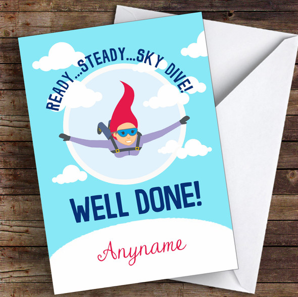 Sky Diving Challenge Well Done Personalised Greetings Card