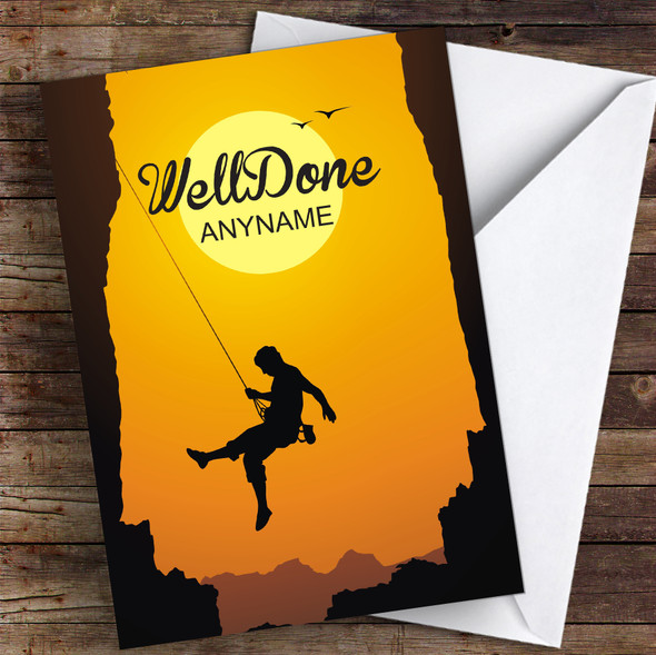 Abseil challenge Well Done Personalised Greetings Card