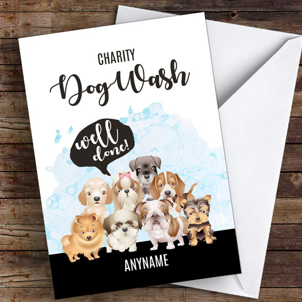 Charity Dog Wash Well Done Personalised Greetings Card