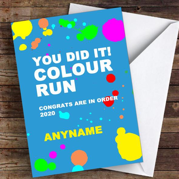 Colour Run Congratulations Personalised Greetings Card
