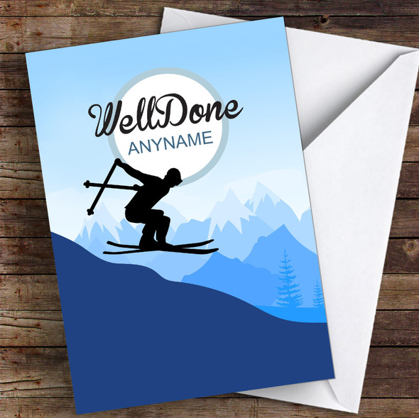 Skiing Challenge Well Done Personalised Greetings Card