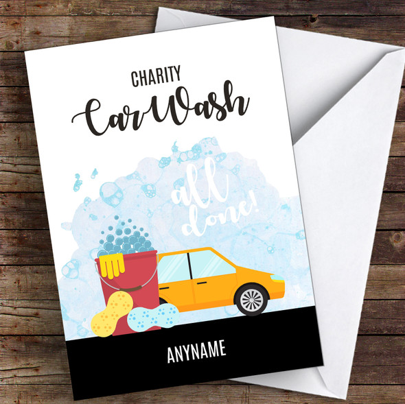 Charity Car Wash All Done Personalised Greetings Card