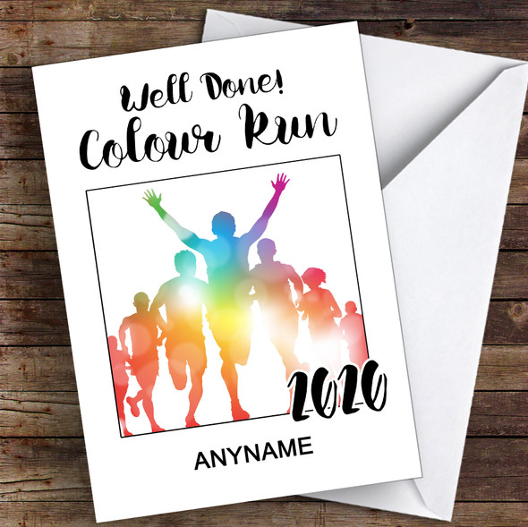 Colour Run 2020 Well Done Personalised Greetings Card