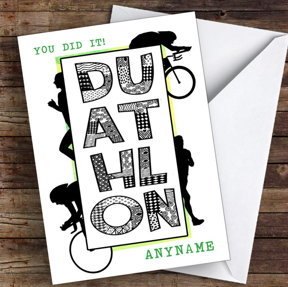 Duathlon Green You Did It Personalised Greetings Card