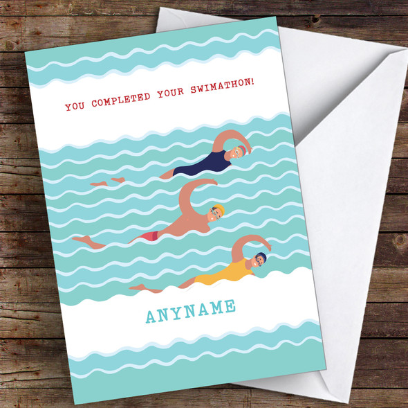 Swimathon Males Completed Personalised Greetings Card
