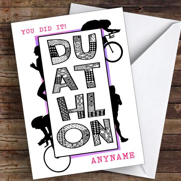 Duathlon Pink You Did It Personalised Greetings Card