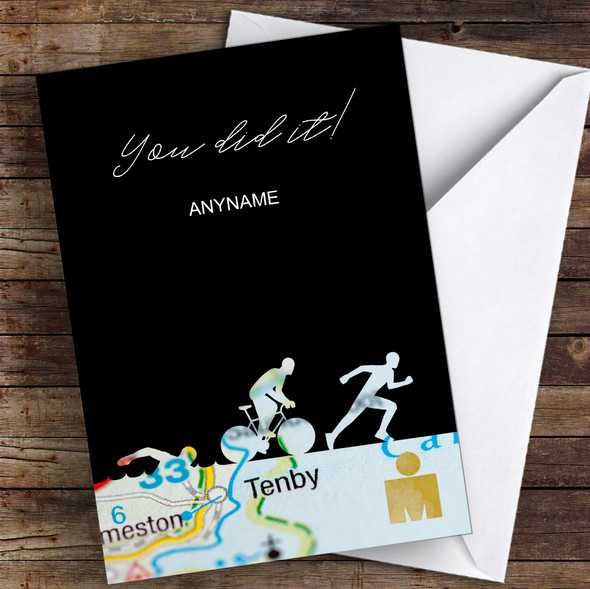 Ironman Tenby You Did It Personalised Greetings Card