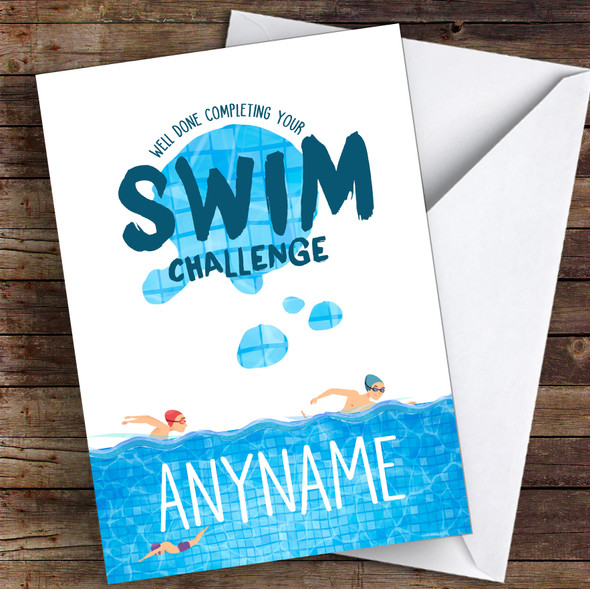 Swim Challenge Well Done Personalised Greetings Card