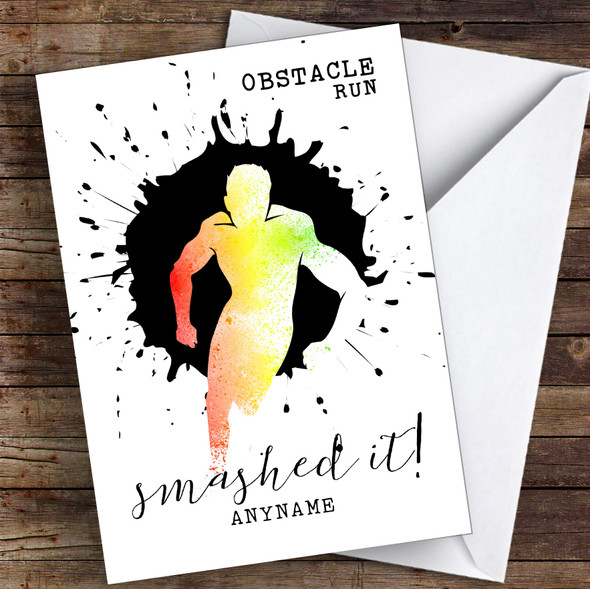 Obstacle Run Smashed It Personalised Greetings Card