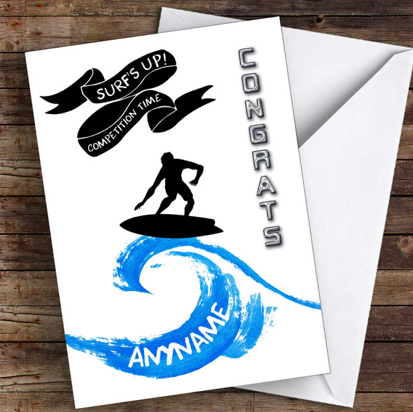 Surf Challenge Congrats Personalised Greetings Card