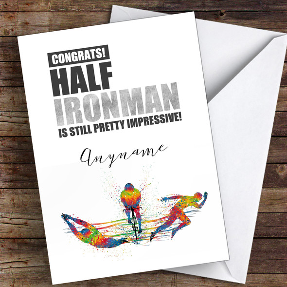Half Iron Man Congrats Personalised Greetings Card