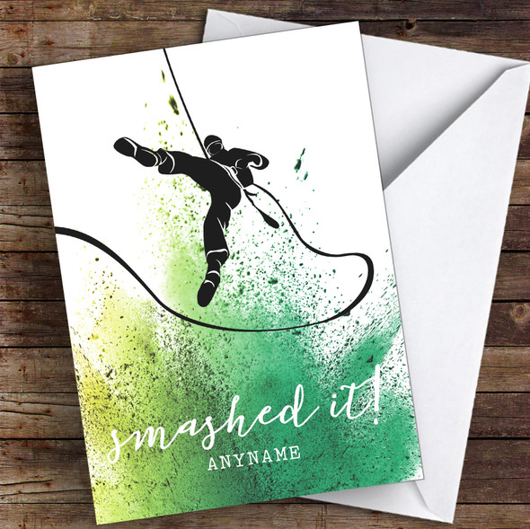 Abseiling Smashed It Personalised Greetings Card