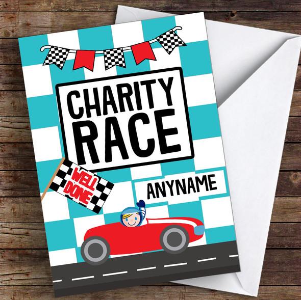Racing Car Well Done Personalised Greetings Card