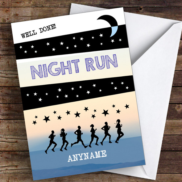 Night Run Well Done Personalised Greetings Card