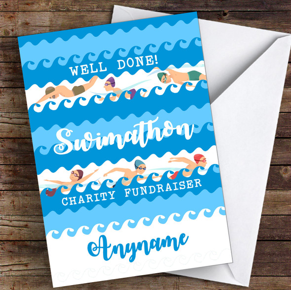 Swimathon Well Done Personalised Greetings Card