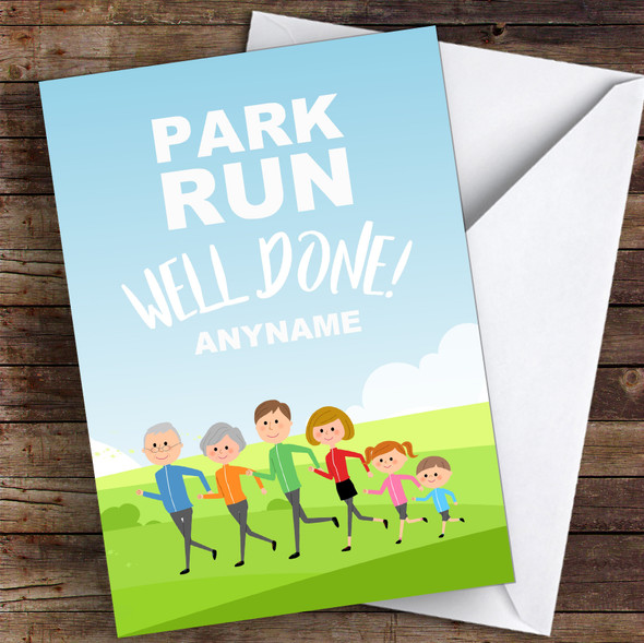 Park Run Well Done Personalised Greetings Card