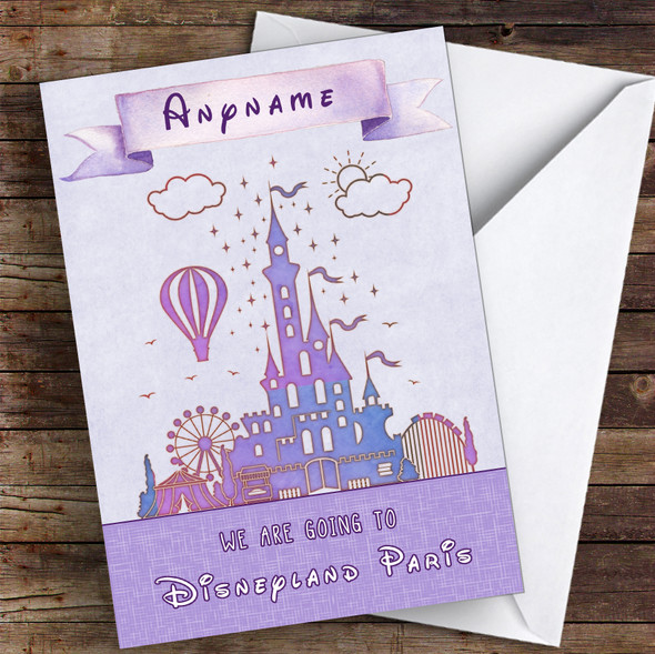 Surprise We Are Going To Disneyland Paris Watercolour Lilac Personalised Card