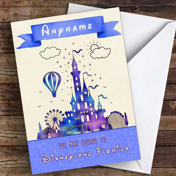 Surprise We Are Going To Disneyland Florida Metallic Blue Personalised Card