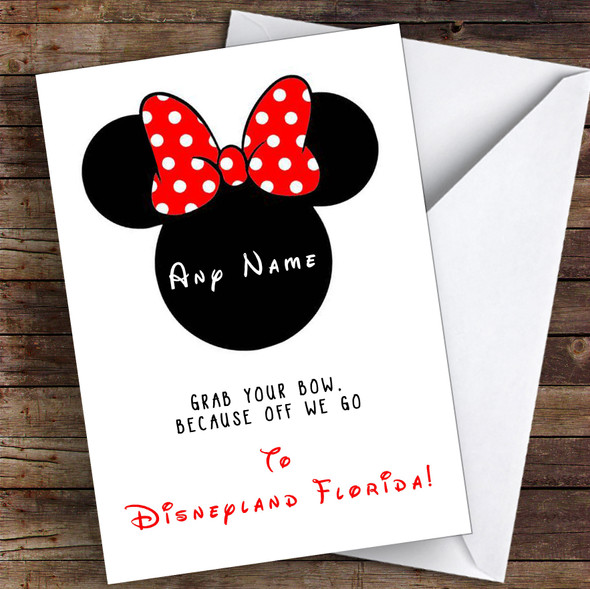 You're Going To Disneyland Florida Minnie Mouse Personalised Greetings Card
