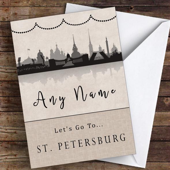 Surprise Let's Go To St Petersburg Personalised Greetings Card
