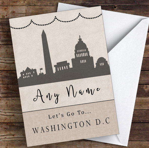 Surprise Let's Go To Washington Dc Personalised Greetings Card