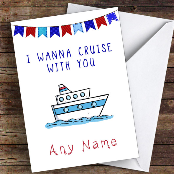 Surprise Going On A Cruise Ship Personalised Greetings Card