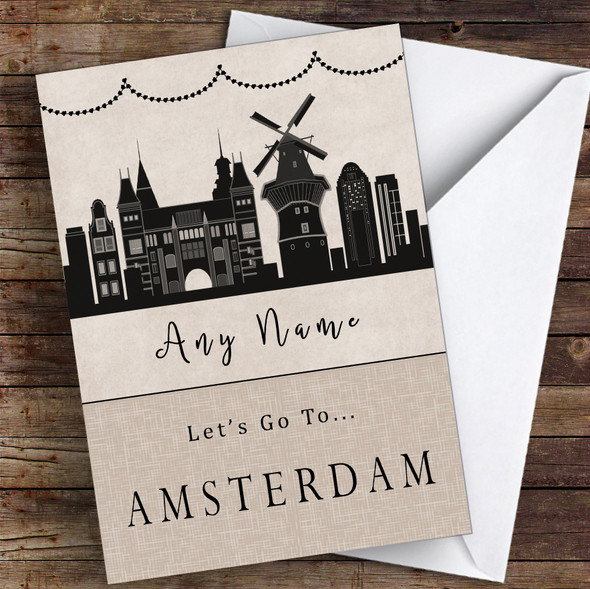 Surprise Let's Go To Amsterdam Personalised Greetings Card