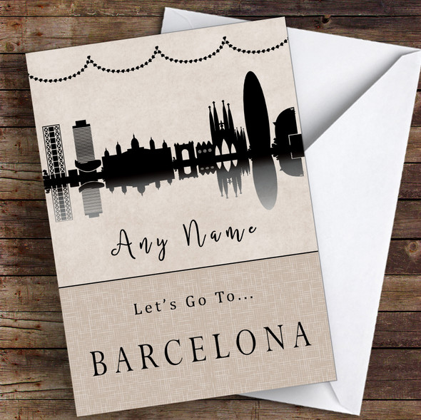 Surprise Let's Go To Barcelona Personalised Greetings Card