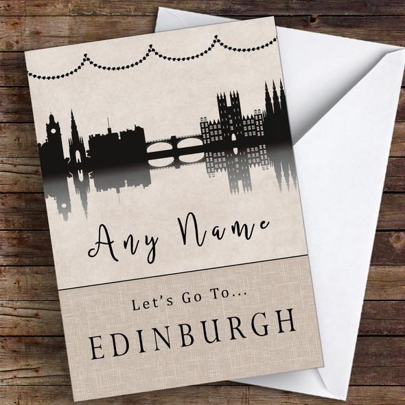 Surprise Let's Go To Edinburgh Personalised Greetings Card