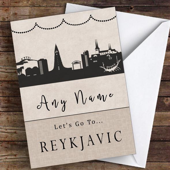 Surprise Let's Go To Reykjavik Personalised Greetings Card