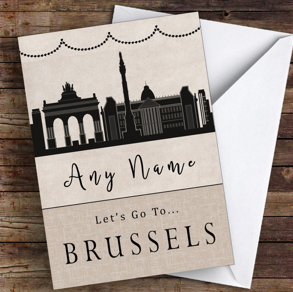 Surprise Let's Go To Brussels Personalised Greetings Card
