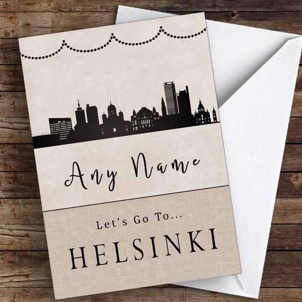 Surprise Let's Go To Helsinki Personalised Greetings Card