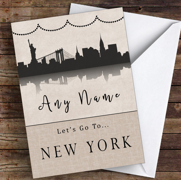 Surprise Let's Go To New York Personalised Greetings Card