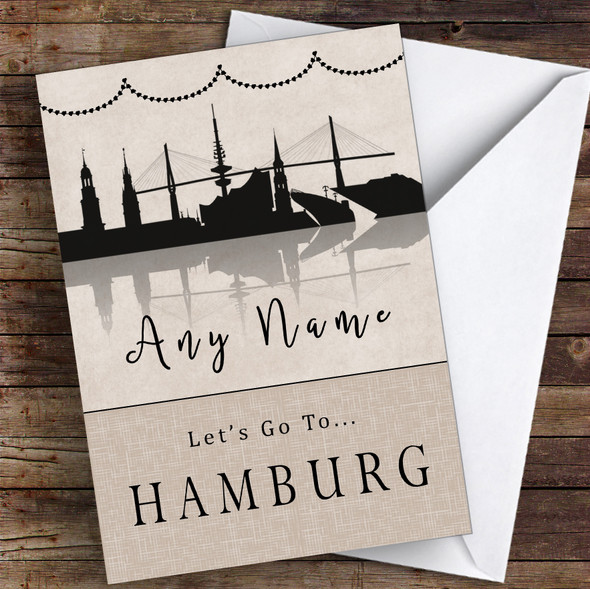 Surprise Let's Go To Hamburg Personalised Greetings Card