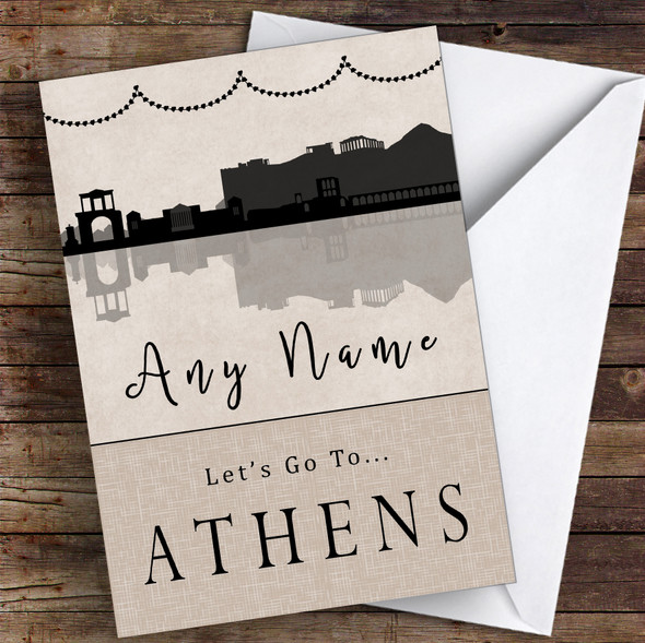 Surprise Let's Go To Athens Personalised Greetings Card